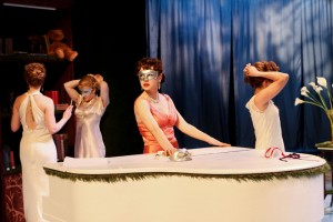 "Rebecca Olson as Katharine, Allie Pratt as Maria, Samara Lerman as the Princess of France, and Kayla Lian as Rosaline in Seattle Shakespeare Company's 2013 production of ""Love's Labour's Lost."" Photo by John Ulman."