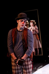 """Mike Dooly as Costard and Donna Wood as Jacquenetta in Seattle Shakespeare Company's 2013 production of """"Love's Labour's Lost."""" Photo by John Ulman."""