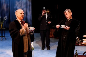 """Allan Armstrong as Holofernes, Kevin Bordi as Dull, and George Mount as Sir Nathaniel in Seattle Shakespeare Company's 2013 production of """"Love's Labour's Lost."""" Photo by John Ulman."""