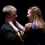 "Darragh Kennan as Octavius and Sydney Andres as Octavia in Seattle Shakespeare Company's 2012 production of ""Antony and Cleopatra."" Photo by John Ulman."