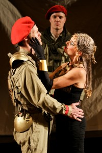 "Hans Altwies as Mark Antony, Matt Shimkus as Messenger, and Amy Thone as Cleopatra in Seattle Shakespeare Company's 2012 production of ""Antony and Cleopatra."" Photo by John Ulman."