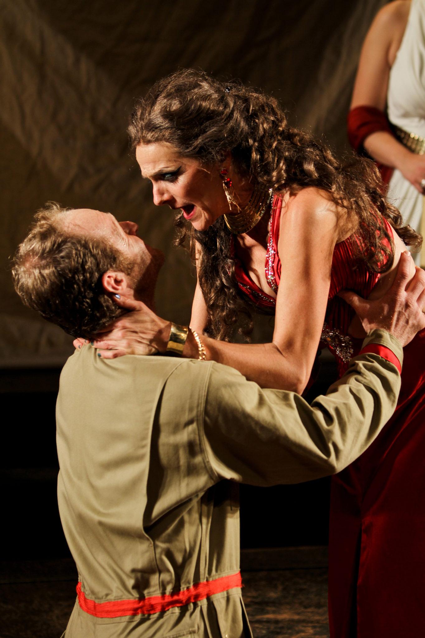 "Hans Altwies as Mark Antony and Amy Thone as Cleopatra in Seattle Shakespeare Company's 2012 production of ""Antony and Cleopatra."" Photo by John Ulman."