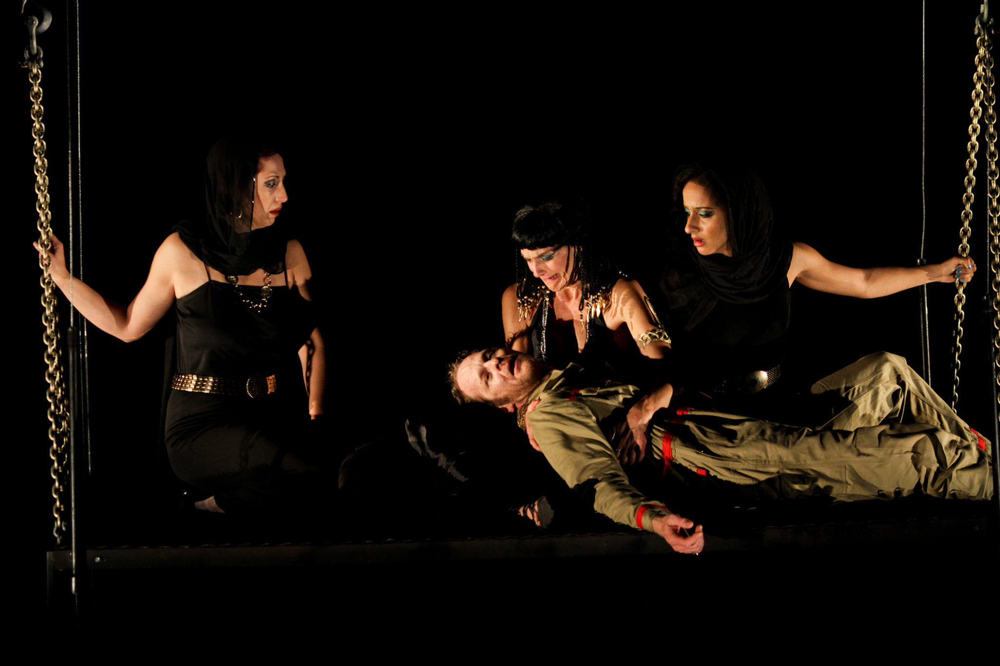 """Terri Weagant, Hans Altwies, Amy Thone, and Allison Strickland in Seattle Shakespeare Company's 2012 production of """"Antony and Cleopatra."""" Photo by John Ulman."""