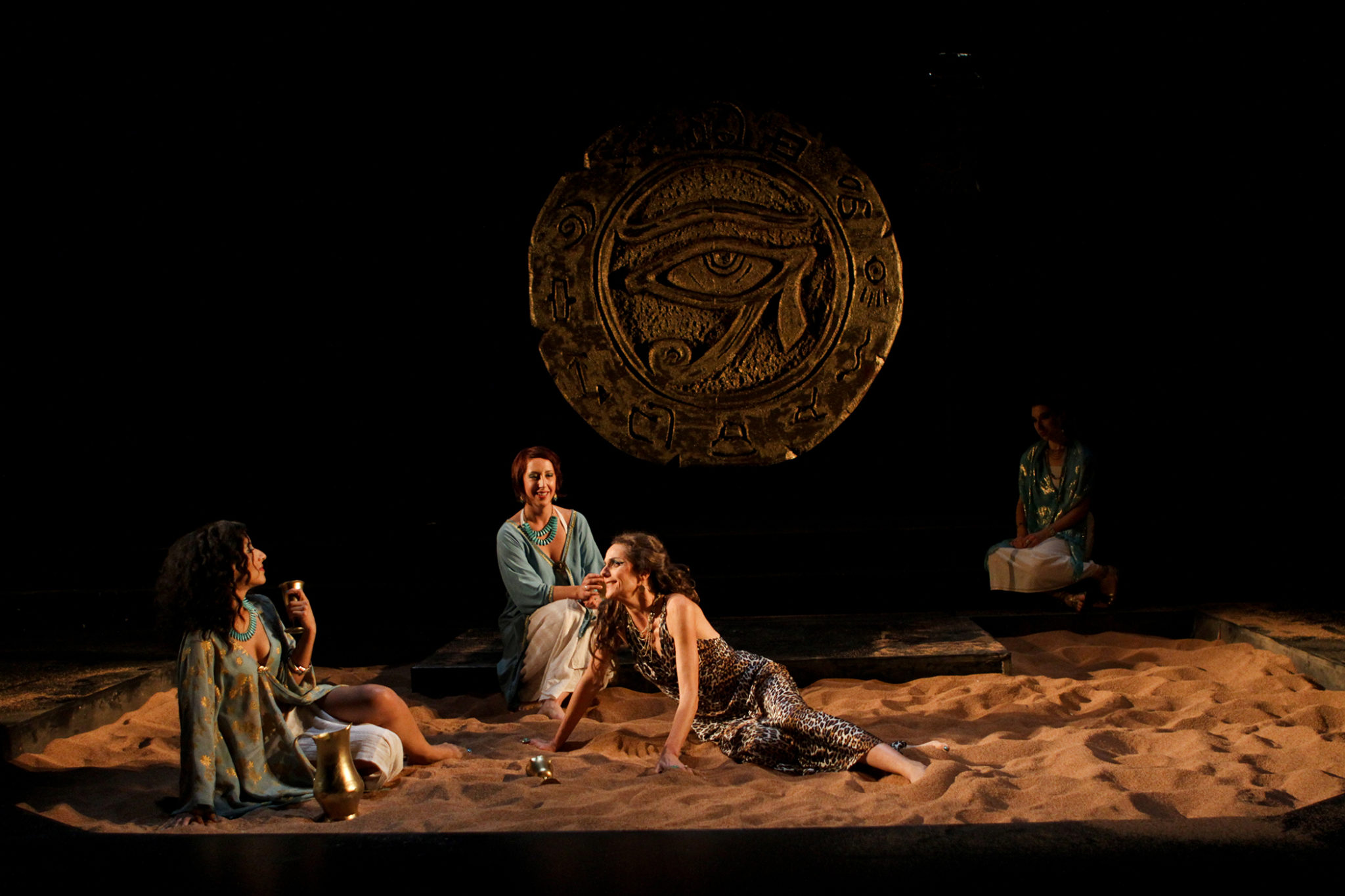 """Allison Strickland as Iras, Terri Weagant as Charmian, and Amy Thone as Cleopatra in Seattle Shakespeare Company's 2012 production of """"Antony and Cleopatra."""" Photo by John Ulman."""