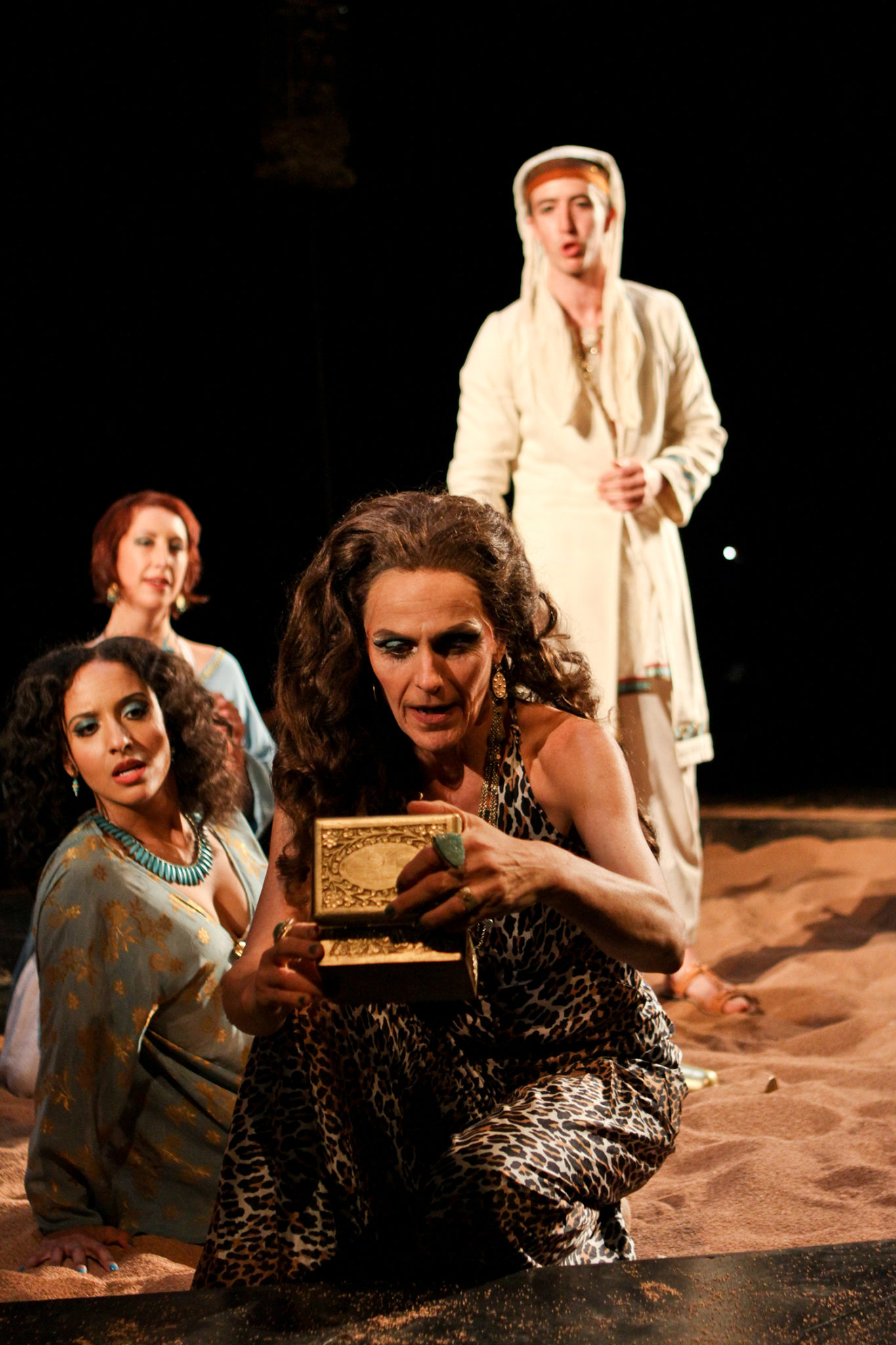 """Allison Strickland as Iras, Terri Weagant as Charmian, Amy Thone as Cleopatra and Adam Standley as Alexas in Seattle Shakespeare Company's 2012 production of """"Antony and Cleopatra."""" Photo by John Ulman."""