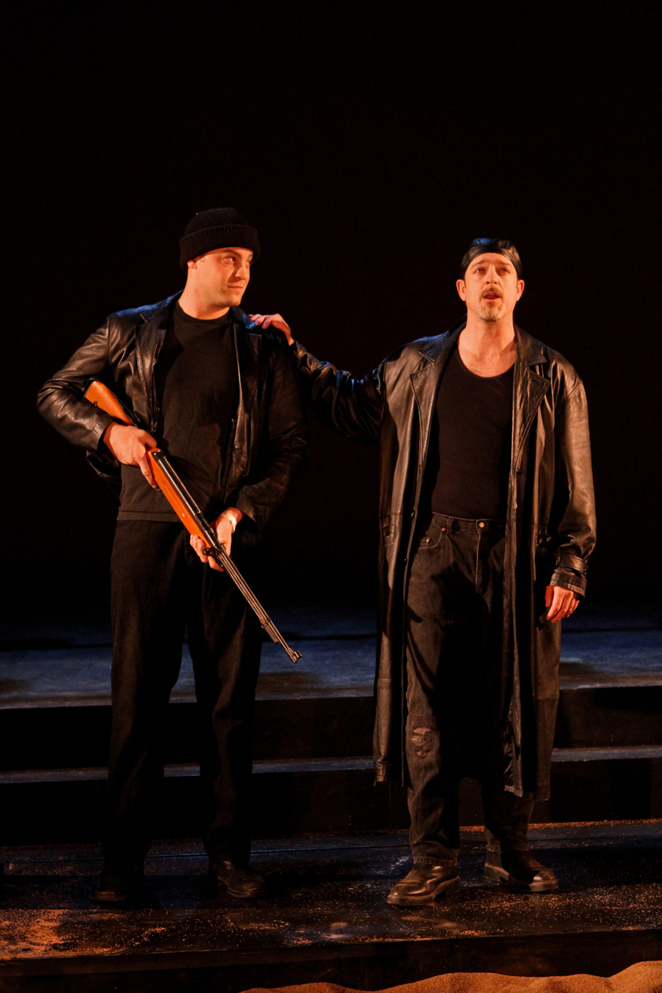 """Chris Maslen as Menas and Mike Dooly as Pompey in Seattle Shakespeare Company's 2012 production of """"Antony and Cleopatra."""" Photo by John Ulman."""