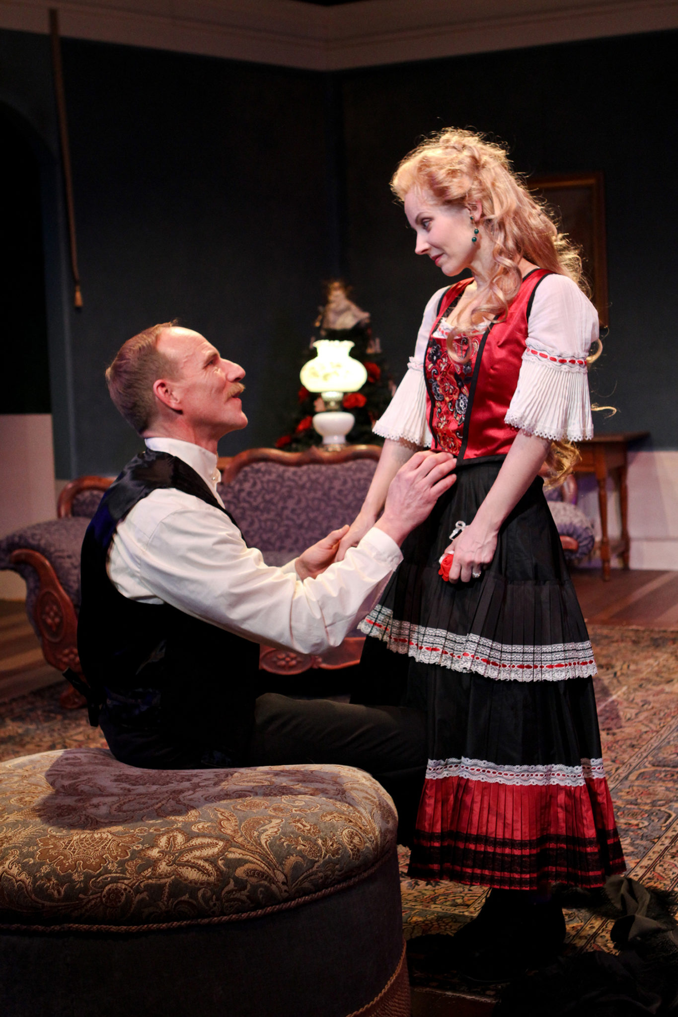 "Michael Patten as Torvald and Jennifer Sue Johnson as Nora in Seattle Shakespeare Company's 2013 production of ""A Doll's House."" Photo by John Ulman."