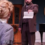 """Jennifer Sue Johnson as Nora and Peter Dylan O'Connor as Krogstad in Seattle Shakespeare Company's 2013 production of """"A Doll's House."""" Photo by John Ulman."""