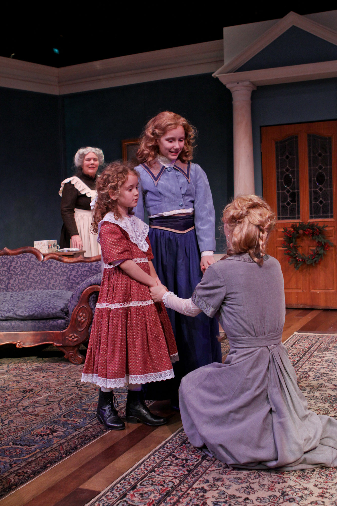 "Jody McCoy as Anne-Marie, Mia Banham as Cathrine, Tessa Weinland as Emmie, and Jennifer Sue Johnson as Nora in Seattle Shakespeare Company's 2013 production of ""A Doll's House."" Photo by John Ulman."