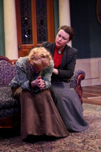 "Jennifer Sue Johnson as Nora and Betsy Schwartz as Mrs. Linde in Seattle Shakespeare Company's 2013 production of ""A Doll's House."" Photo by John Ulman."
