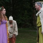 """Brenda Joyner as Perdita, Jim Lapan as Old Shepherd, and Mike Dooly as Polixenes in Seattle Shakespeare Company's 2012 Wooden O production of """"The Winter's Tale."""" Photo by Alan Alabastro"""