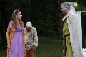 "Brenda Joyner as Perdita, Jim Lapan as Old Shepherd, and Mike Dooly as Polixenes in Seattle Shakespeare Company's 2012 Wooden O production of ""The Winter's Tale."" Photo by Alan Alabastro"