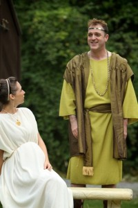 Alyson Bedford as Hermione and Mike Dooly as Polixenes in Seattle Shakespeare Company&#039;s 2012 Wooden O production of &quot;The Winter&#039;s Tale.&quot; Photo by Alan Alabastro