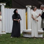 """Riley Neldam as Florizel, Brenda Joyner as Perdita, Therese Diekhans as Paulina, Alyson Bedford as Hermione, and Michael Patten as Leontes in Seattle Shakespeare Company's 2012 Wooden O production of """"The Winter's Tale."""" Photo by Alan Alabastro"""