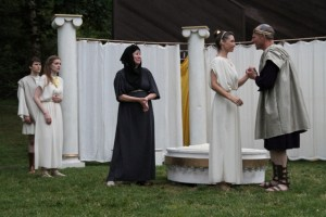 "Riley Neldam as Florizel, Brenda Joyner as Perdita, Therese Diekhans as Paulina, Alyson Bedford as Hermione, and Michael Patten as Leontes in Seattle Shakespeare Company's 2012 Wooden O production of ""The Winter's Tale."" Photo by Alan Alabastro"