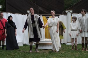 "The cast of in Seattle Shakespeare Company's 2012 Wooden O production of ""The Winter's Tale."" Photo by Alan Alabastro"