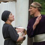 """Therese Diekhans as Paulina and Michael Patten as Leontes in Seattle Shakespeare Company's 2012 Wooden O production of """"The Winter's Tale."""" Photo by Alan Alabastro"""