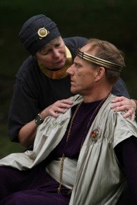 "Therese Diekhans as Paulina and Michael Patten as Leontes in Seattle Shakespeare Company's 2012 Wooden O production of ""The Winter's Tale."" Photo by Alan Alabastro"
