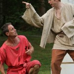 """David Quicksall as Autolycus and Mark Oram as Clown in in Seattle Shakespeare Company's 2012 Wooden O production of """"The Winter's Tale."""" Photo by Alan Alabastro"""