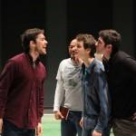 Paul Stuart as Berowne, Jason Sanford as the King of Navarre, Jay Myers as Dumain, and Jonathan Cremini as Longaville.