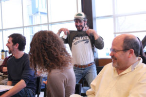 """In preparing of for the show Schill had tried to find some of the original costume pieces used in """"Shrew."""" It turns out that some of the cast members kept some of their costumes. David Quicksall wore his Petruchio t-shirt to the first rehearsal."""