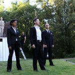 "(L-R) Jon Lutyens, Yesenia Iglesias, Matthew Gilbert, David S. Hogan, and David Quicksall speaking the Chorus's prologue in Seattle Shakespeare Company's 2013 Wooden O production of ""Henry V."""