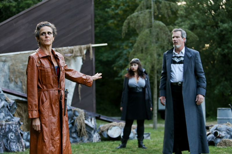"Amy Thone as Prospero, Pilar O'Connell as Adrian, and Jim Gall as King Alonso in Seattle Shakespeare Company's 2013 Wooden O production of ""The Tempest."""