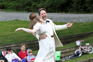 "Brenda Joyner as Hero and Keith Dahlgren as Leonato in the 2010 Wooden O production of ""Much Ado About Nothing."""