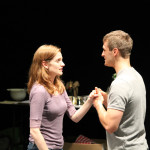 "Brenda Joyner as Hero and Jay Myers as Claudio in rehearsal for ""Much Ado About Nothing."""