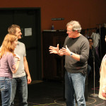 "Brenda Joyner as Hero, Jay Myers as Claudio, Jim Gall as Don Pedro, and Peter A. Jacobs as Leonato in rehearsal for ""Much Ado About Nothing."""