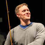 "Matt Shimkus as Benedick in rehearsal for ""Much Ado About Nothing."""