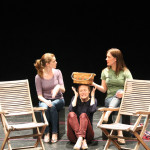 "Brenda Joyner as Hero, Jennifer Lee Taylor as Beatrice, and Zandi Carlson as Ursula in rehearsal for ""Much Ado About Nothing."""