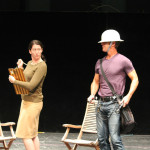 "Heather Persinger as Verges and David Quicksall as Dogberry in rehearsal for ""Much Ado About Nothing."""