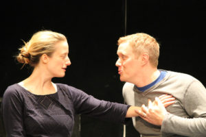 "Jennifer Lee Taylor as Beatrice and Matt Shimkus as Benedick in rehearsal for ""Much Ado About Nothing."""