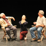 "Peter A. Jacobs as Leonato, Jennifer Lee Taylor as Beatrice, and Bill Higham as Antonio in rehearsal for ""Much Ado About Nothing."""