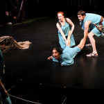 "Terri Weagant as Helena, Allison Strickland as Hermia, Christine Marie Brown as Lysandra, and Trick Danneker as Demetrius in Seattle Shakespeare Company's 2011 production of ""A Midsummer Night's Dream."""