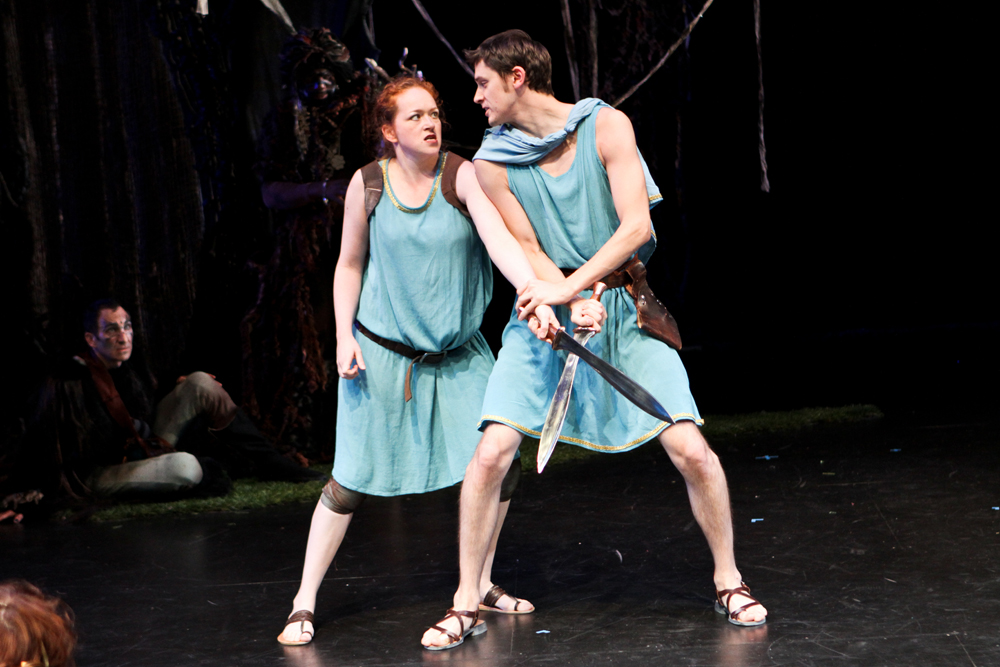 """Christine Marie Brown as Lysandra and Trick Danneker as Demitrius in Seattle Shakespeare Company's 2011 production of """"A Midsummer Night's Dream."""""""