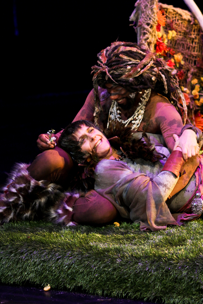"""Amy Thone as Titania and Reginal Andre Jackson as Oberon in Seattle Shakespeare Company's 2011 production of """"A Midsummer Night's Dream."""""""