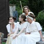 "Heather Rash, Brenda Joyner, Amy Thone, and Kate Wisniewski in Seattle Shakespeare Company's 2010 Wooden O production of ""The Comedy of Errors."""