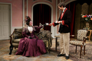 "Kimberly King and Quinn Franzen in Seattle Shakespeare Company's 2014 production of ""The Importance of Being Earnest."" Photo by John Ulman."