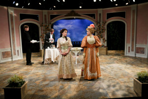"Christopher James, Michael Patten, Hana Lass and Emily Grogan in Seattle Shakespeare Company's 2014 production of ""The Importance of Being Earnest."" Photo by John Ulman."
