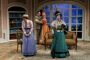 "Kate Wisniewski, Connor Toms, Emily Grogan, and Kimberly King in Seattle Shakespeare Company's 2014 production of ""The Importance of Being Earnest."" Photo by John Ulman."