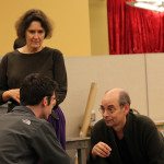 Jeanne Paulsen, Robert Bergin, and Larry Paulsen in rehearsal for Mother Courage and Her Children