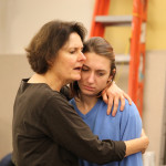 Jeanne Paulsen and Chesa Greene in rehearsal for Mother Courage and Her Children