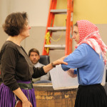 Jeanne Paulse and Chesa Greene in rehearsal for Mother Courage and Her Children