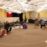 Robert Bergin, Larry Paulsen, Chad Kelderman, Jeanne Paulsen and Chesa Greene in rehearsal for Mother Courage and Her Children
