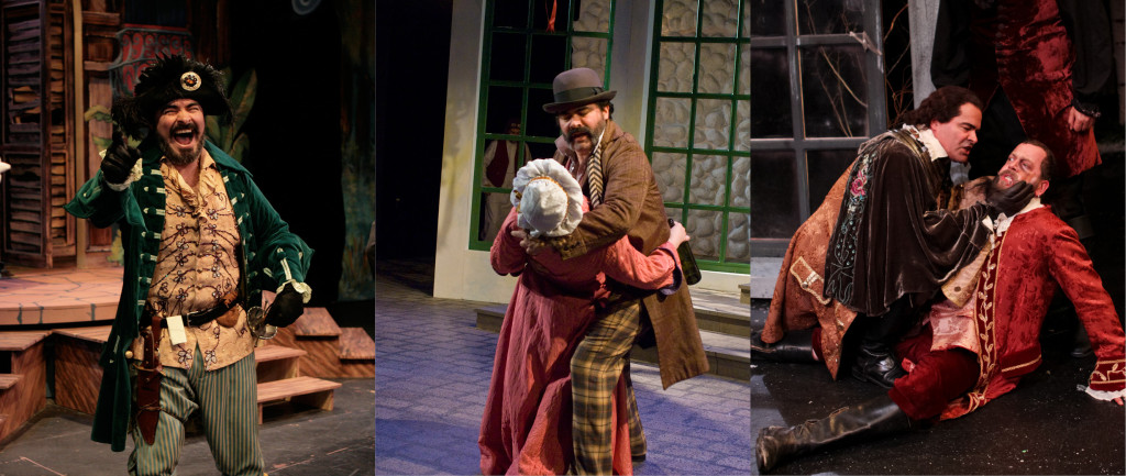 """Ray Gonzalez in Seattle Shakespeare Company's productions of """"The Comedy of Errors"""" (2007), """"Twelfth Night"""" (2009), and """"As You Like It"""" (2012)."""